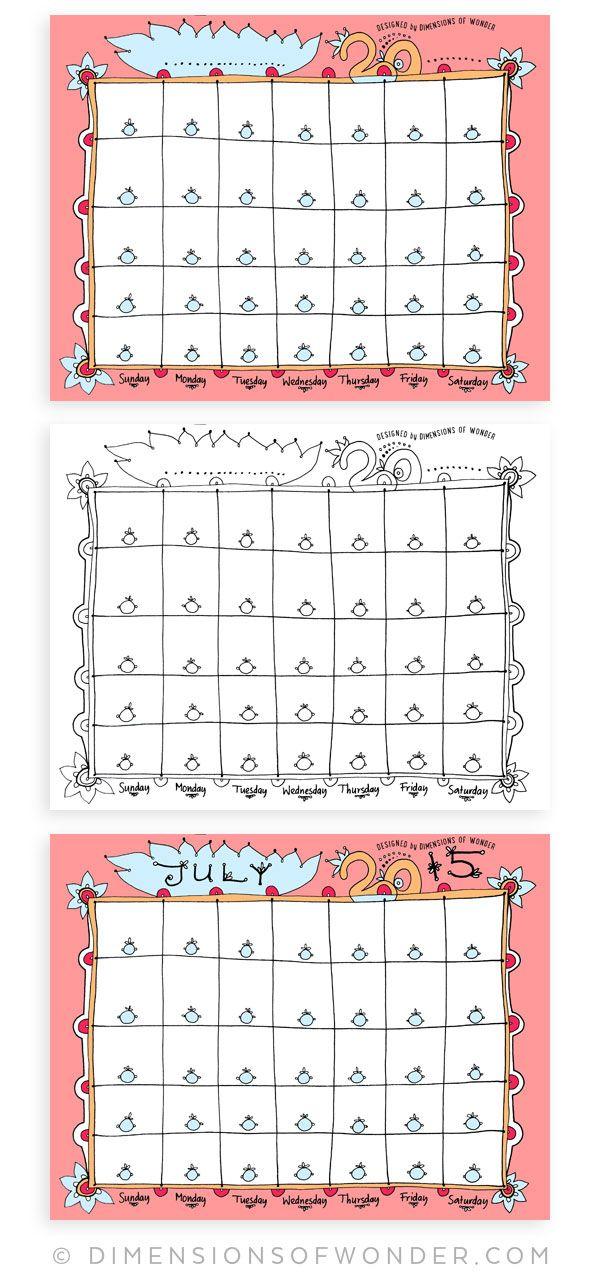 July 2015 Calendar Printable {Hand Drawn} - Dimensions of Wonder 1