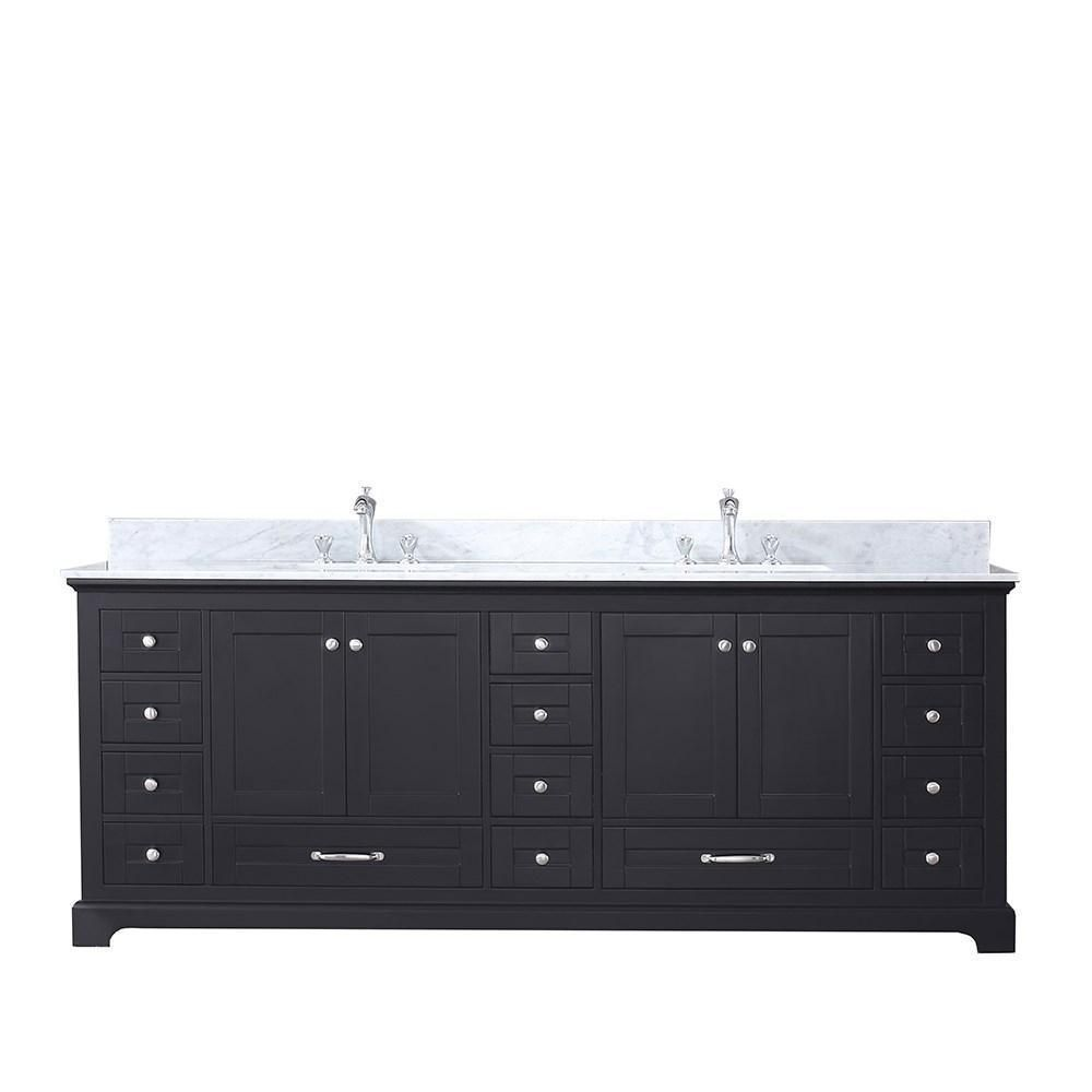 Dukes 84 Espresso Double Vanity White Carrara Marble Top
