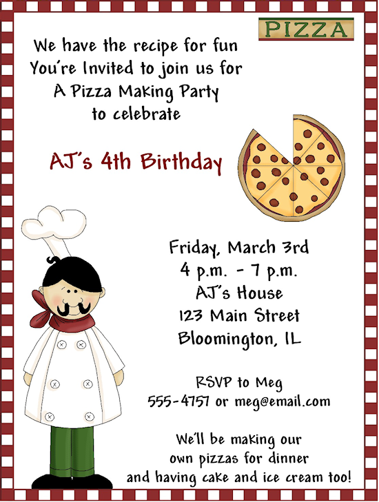 like the wording for a make your own pizza party luna s birthday