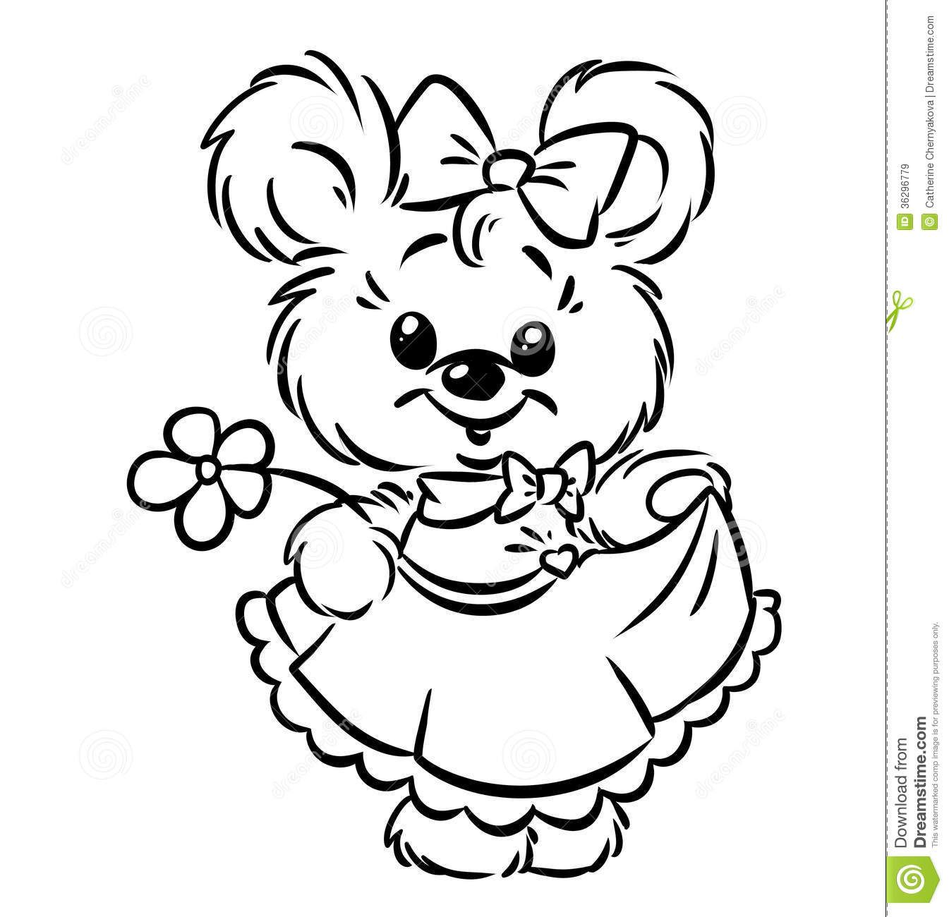 Royalty Free Stock Images: Bear girl flower coloring pages. Image ...