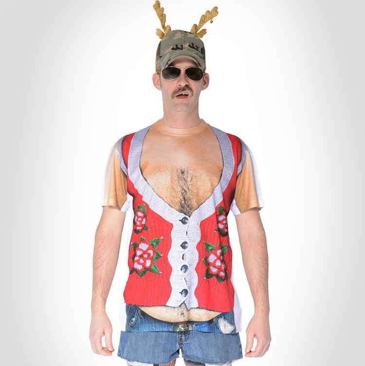 fat guy ugly christmas sweater vest graphic tee - Redneck Christmas Sweaters