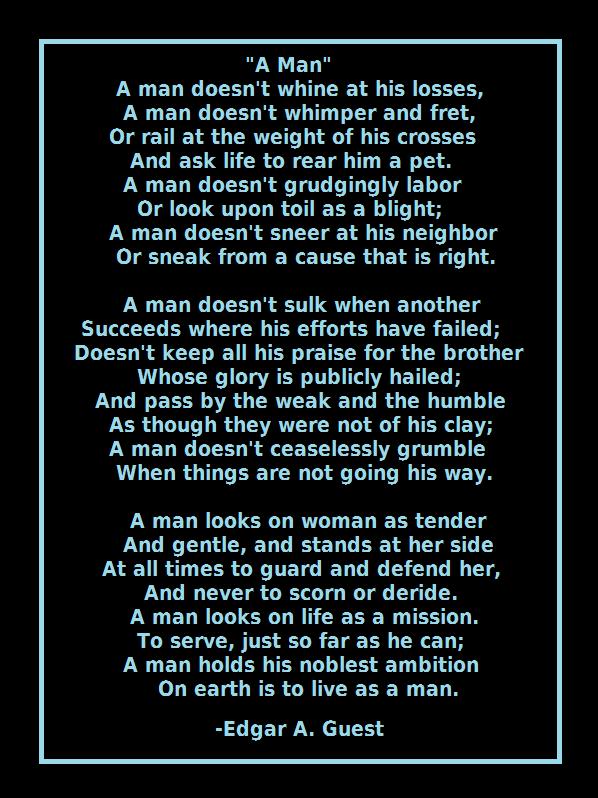 A Good Man Poem