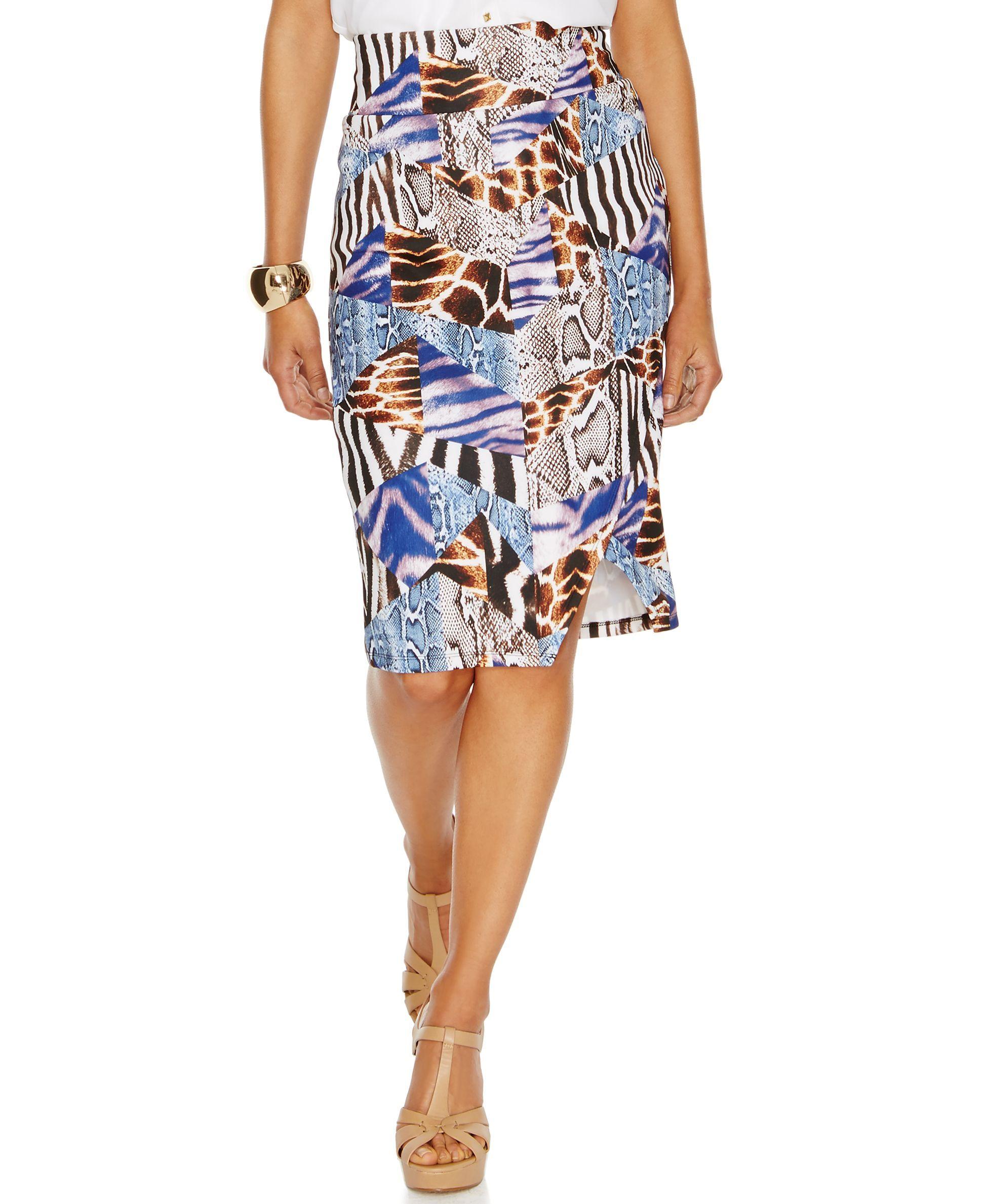 5f5a0fbf5 Thalia Sodi Animal-Print Asymmetric Scuba Pencil Skirt | Products ...