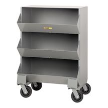 Welded-Steel Mobile Storage Bin - Shown w/ three compartments
