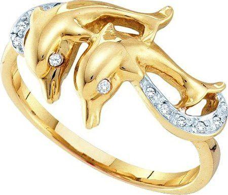 10KT Yellow Gold 0.05CTW DIAMOND LADIES DOLPHIN RING