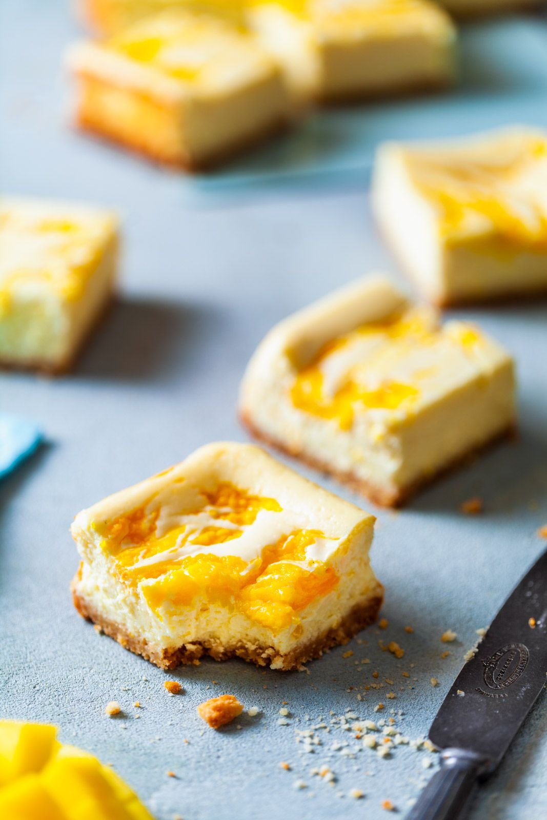 Mango Cheesecake Bars Rich And Creamy With A Sweet Mango Striped Throughout And A Coconut Cookie Crust Ma Mango Cheesecake Cheesecake Recipes Cheesecake Bars