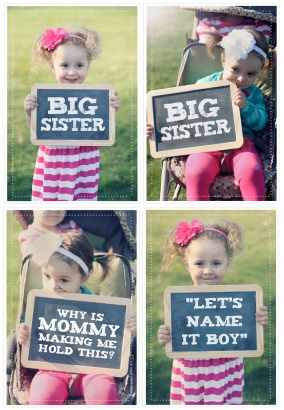 Our were expecting announcement using chalkboards baby 3 big sisters