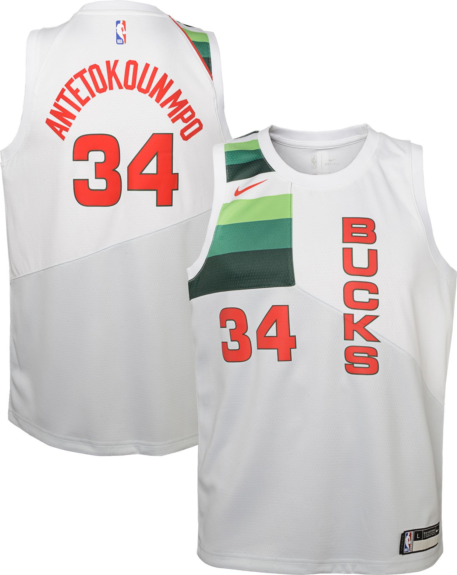 abf7112f755 Nike Youth Milwaukee Bucks Giannis Antetokounmpo Dri-FIT Earned Edition  Swingman Jersey, Size: Medium, White