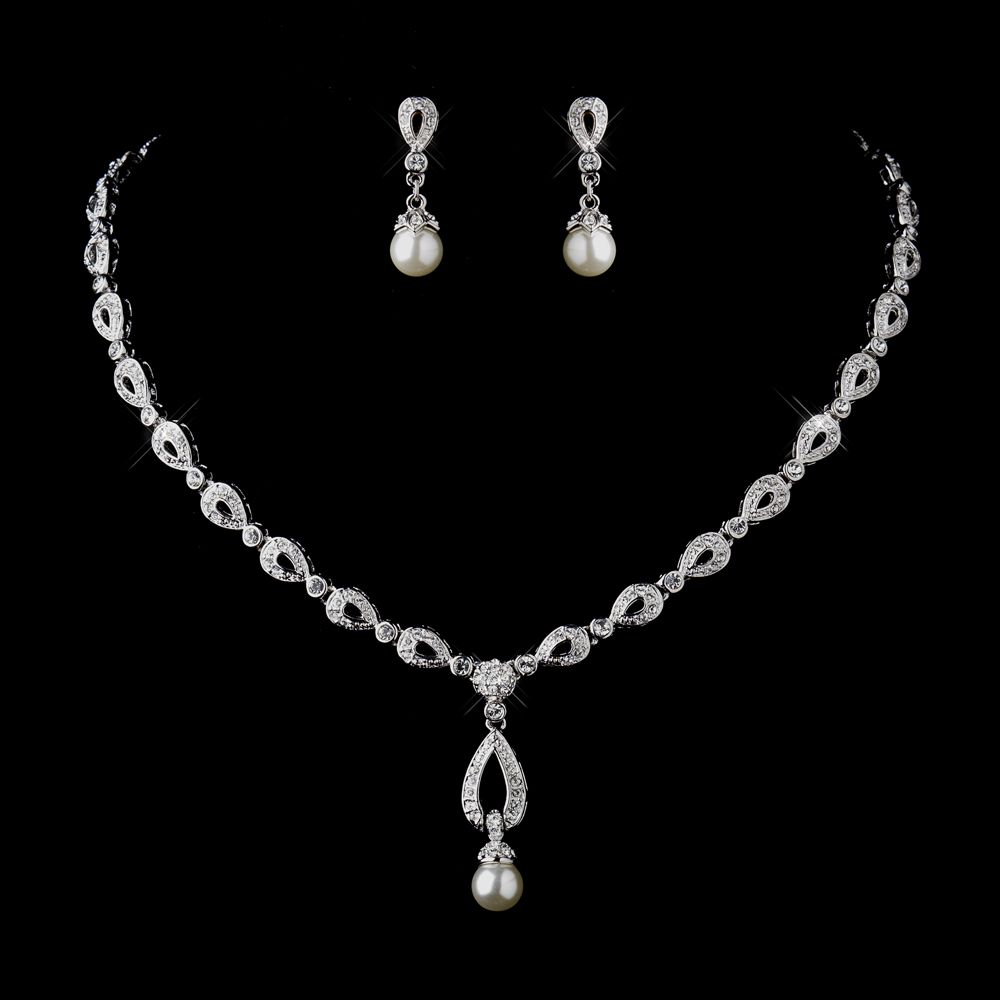 Stunning silver ivory drop pearl bridal jewelry set elegant stunning silver ivory drop pearl bridal jewelry set elegant bridal hair accessories junglespirit Image collections