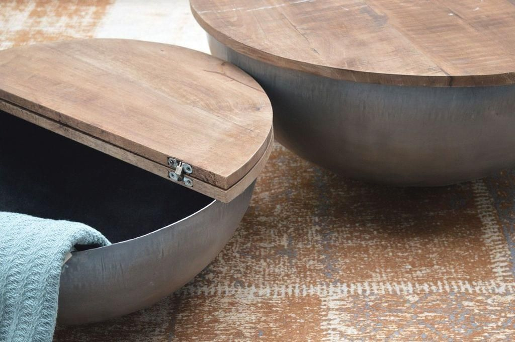 Design Couchtisch Mango Holz Suzan Metall Rund Beistelltisch Halbkugel 80x35cm Couchtisch Couchtisch Metall Beistelltisch Rund