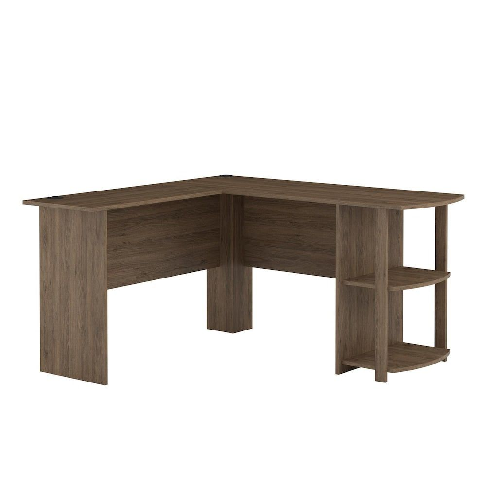 Ameriwood Home Dakota L Shaped Desk Brown In 2020 Bookshelf