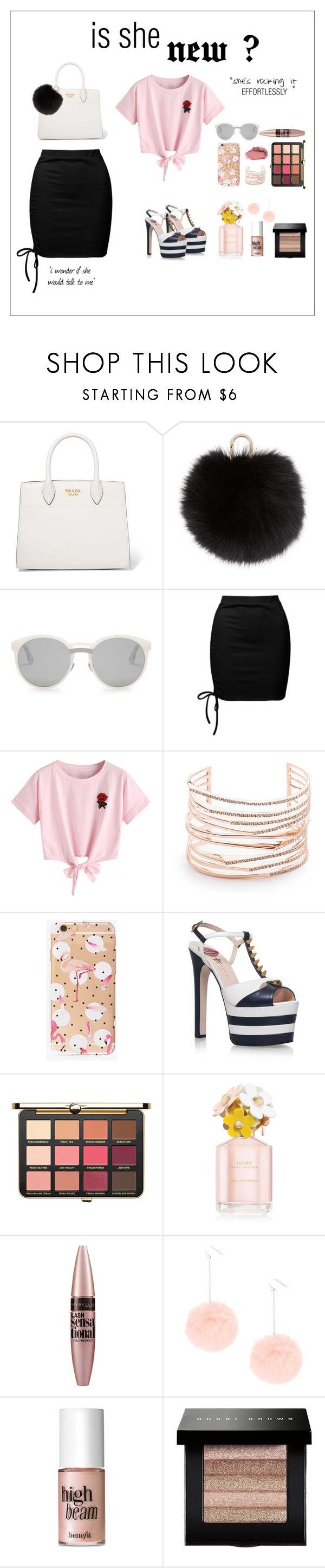 """""""Walkway"""" by puterisarahx ❤ liked on Polyvore featuring Prada, Yves Salomon, Christian Dior, Sans Souci, Urban Decay, WithChic, Alexis Bittar, Gucci, Just Peachy and Marc Jacobs"""