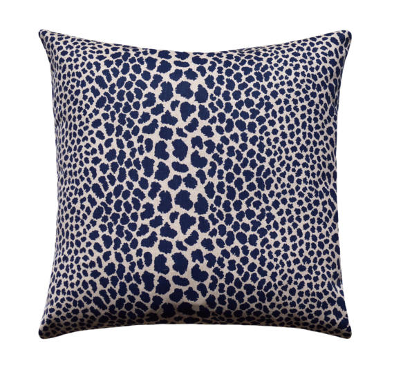 Cheetah Indigo Throw Pillow Blue Leopard Spotted
