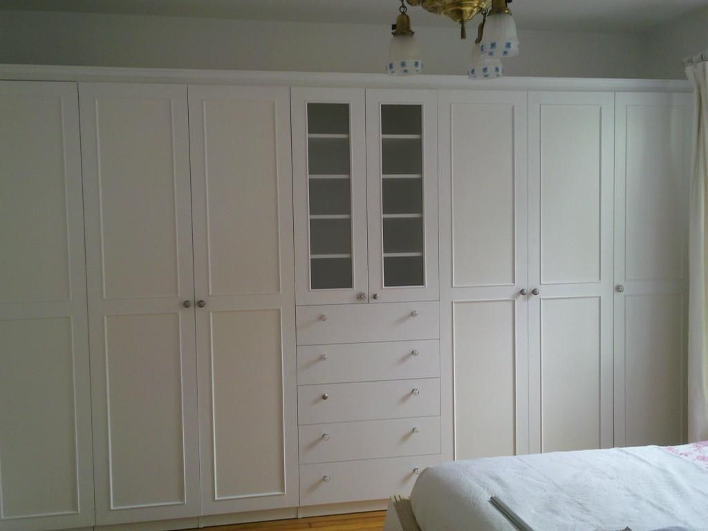 Bedroom Built In Wall Units Master Bedroom Wall To Wall Wardrobe With White Painted Doors By