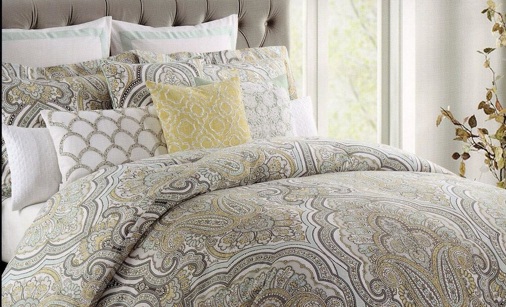 Nicole Miller Turquoise Gray Yellow Paisley Medallion Full Queen 3pc Duvet Cover French Style Bed Nicole Miller Bedding Bed Design