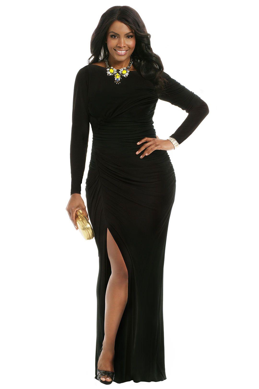 Badgley Mischka Black Sea Gown | Evening dresses, Evening ...