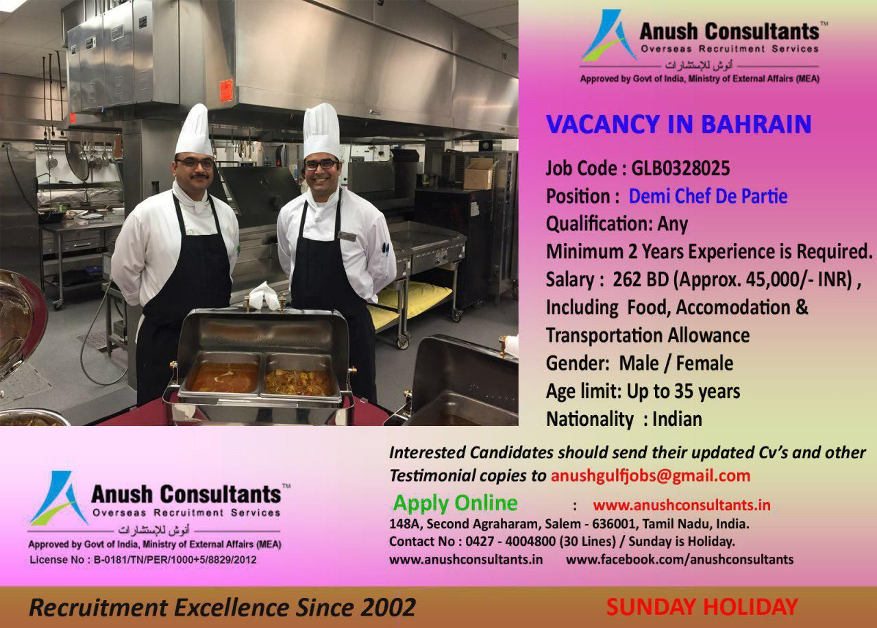 Demi chef de partie Vacancy in Bahrain Required Demi chef