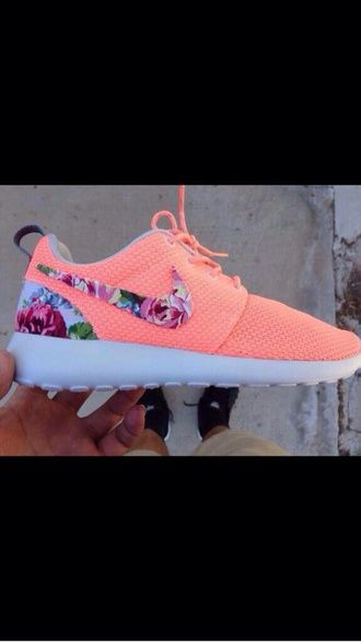 finest selection cf408 51f90 shoes nike orange floral nike running shoes nike roshe run pink roshe runs  nikes trainers running