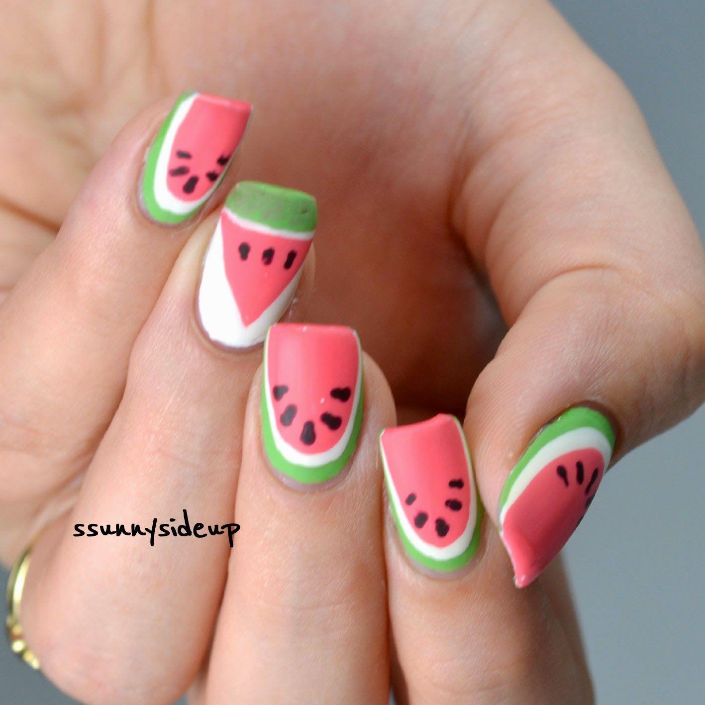 Ssunnysideup Watermelon Nails With Sally Hansen, Catrice, Essie, Essence And