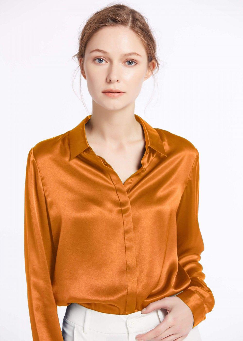 5fb114ee0cde6a Basic Concealed Placket Silk Shirts in 2019   fashion   Shirts, Silk ...