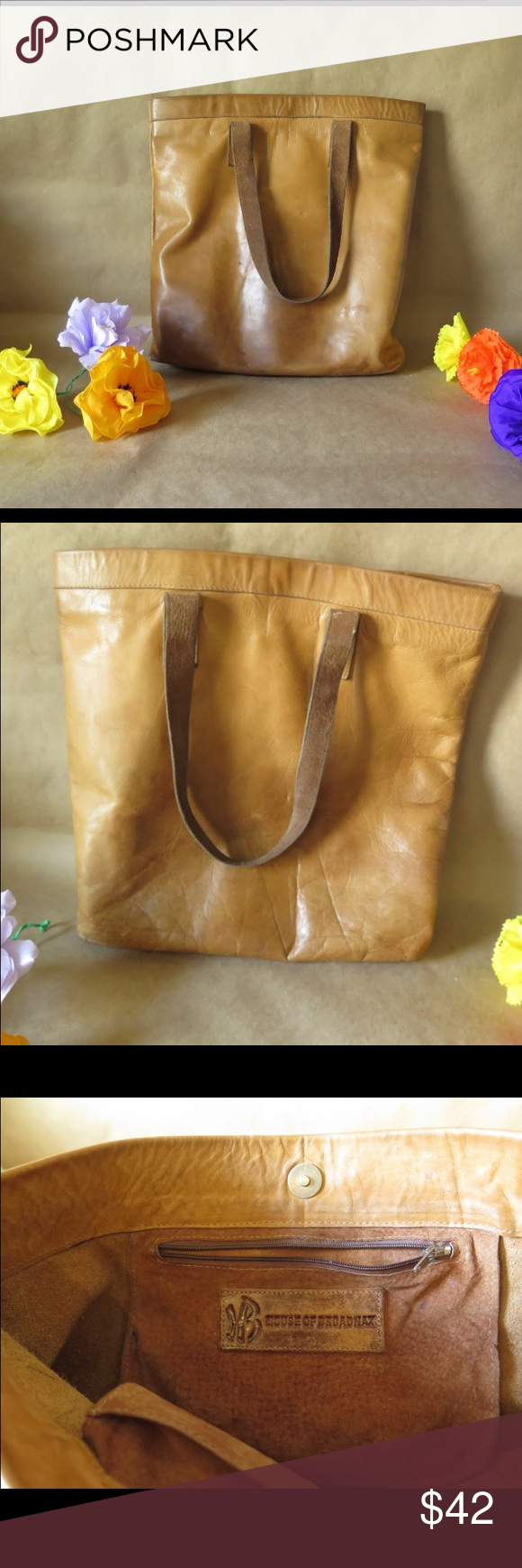 Tan Leather Shoulder Bag Beautiful glowing buttery distressed leather bag Bags Shoulder Bags