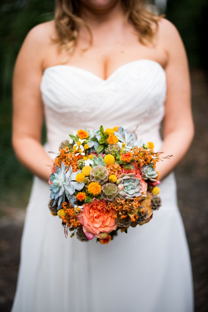 Bouquet by Urban Poppy of Savannah | orange and green / pumpkin and sage weddings | photo by Beacon Photo