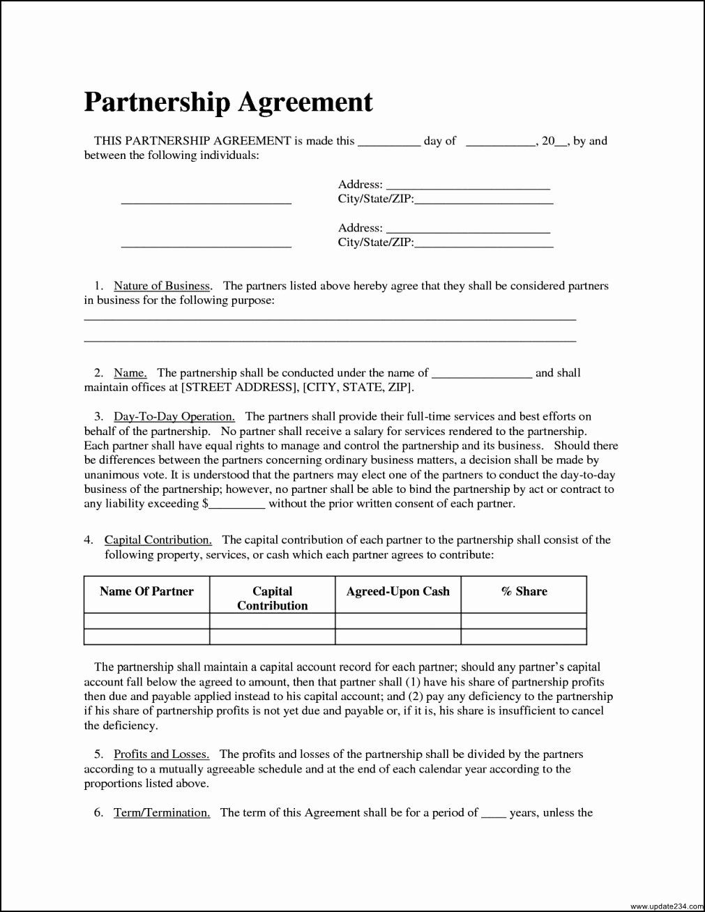 Business contract template free best of simple partnership