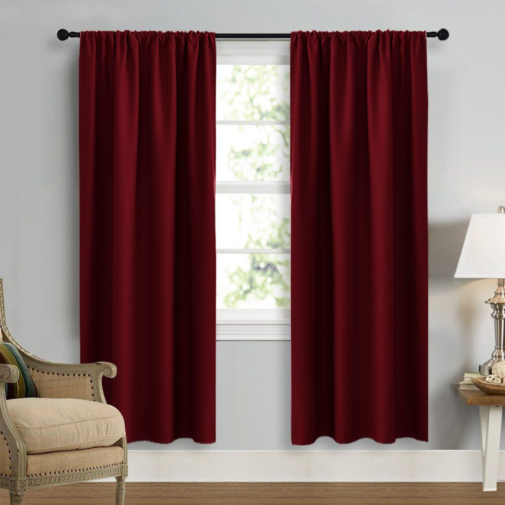 burgundy curtains room darkening drapes nicetown christmas curtain xmas home decor energy efficient thermal insulated