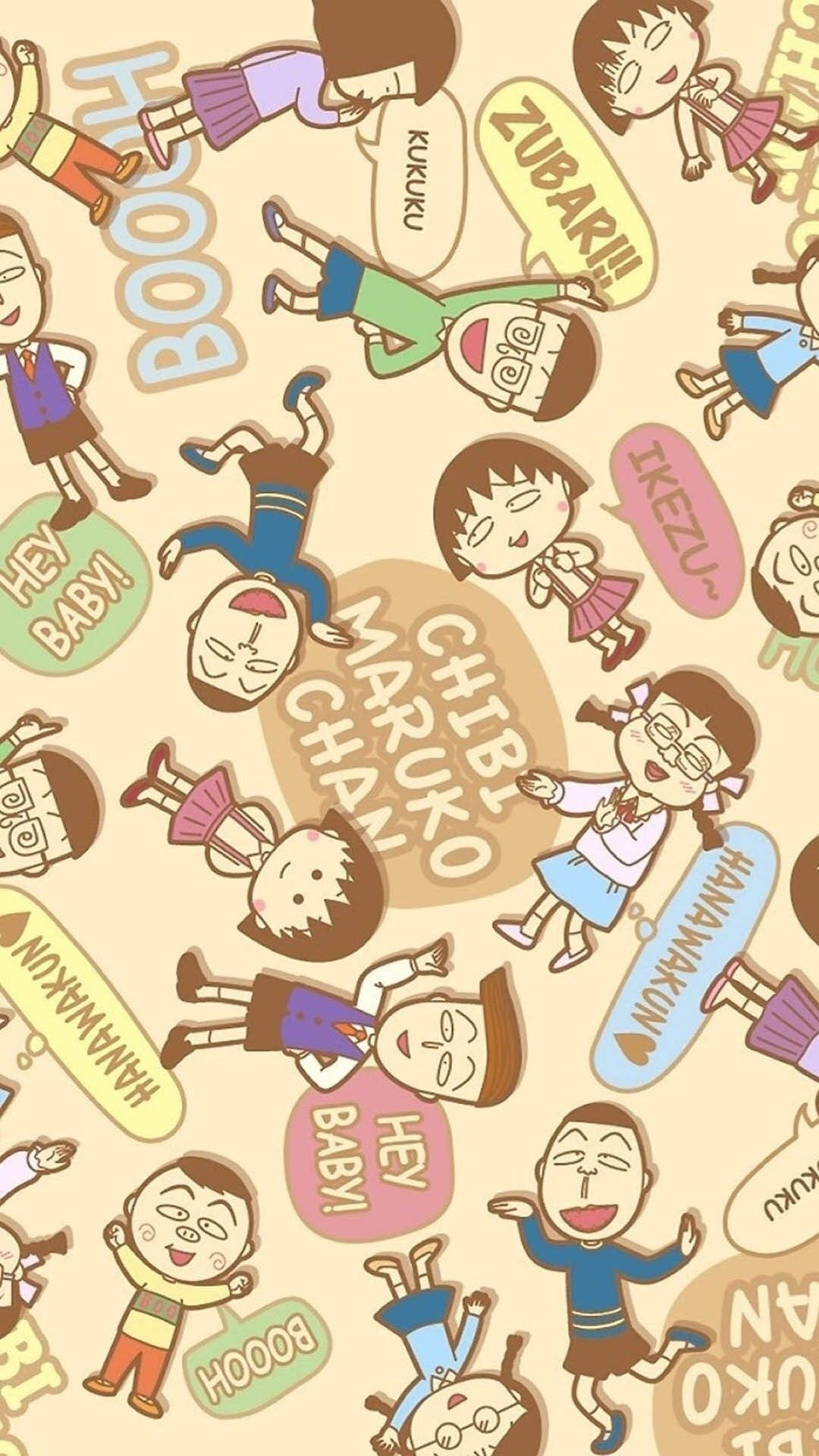 Chibi Maruko Cartoon Pattern Background iPhone 8 Wallpapers