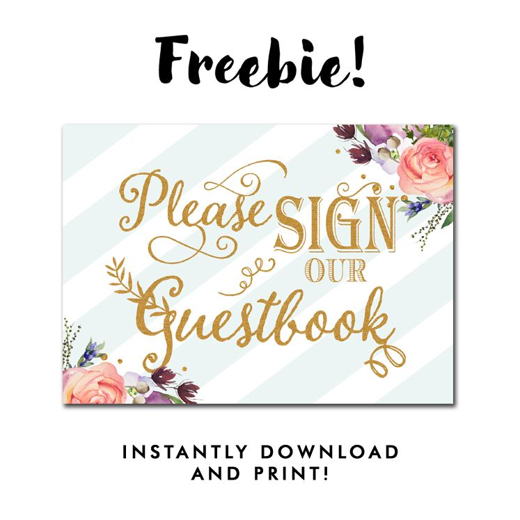 free wedding sign please sign our guestbook mint green stripes gold glitter flowers floral. Black Bedroom Furniture Sets. Home Design Ideas