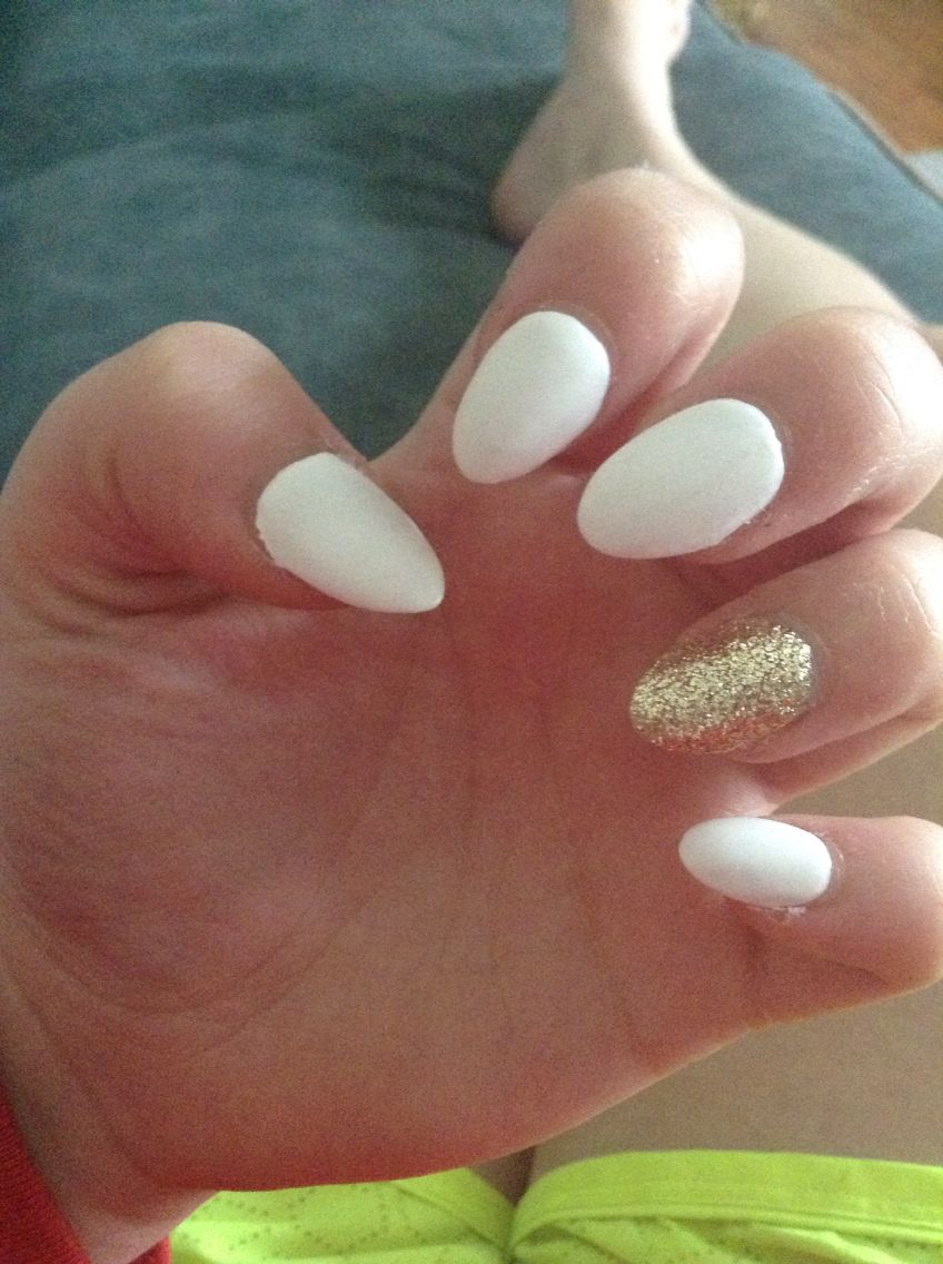 My almond shaped acrylic nails I\'m really diggin them lol the white ...