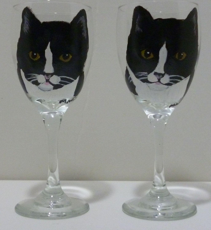 Cat wine glasses cat wine glass Black cat painting