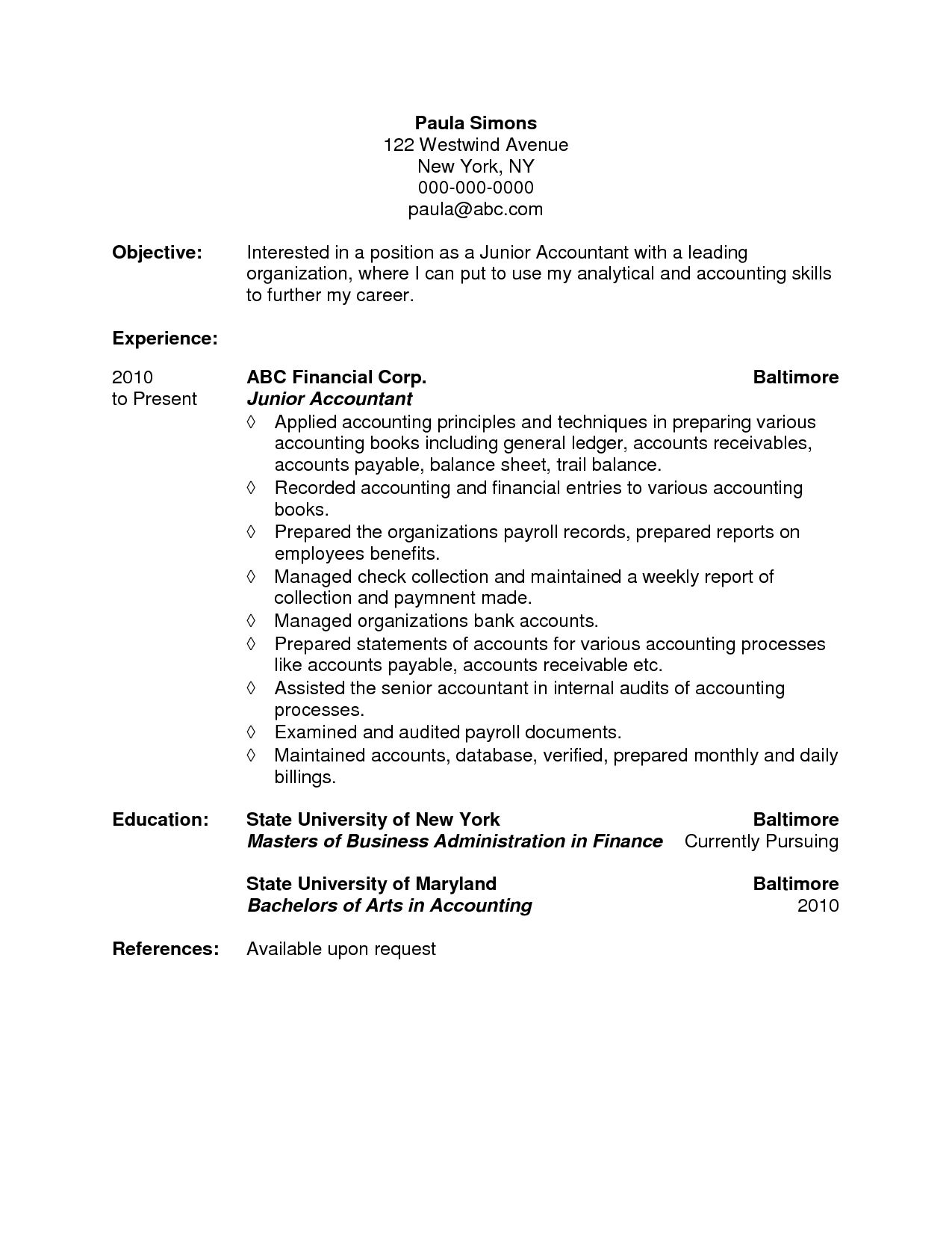 72 Beautiful Photos Of Sample Resume Ojt Accounting Students