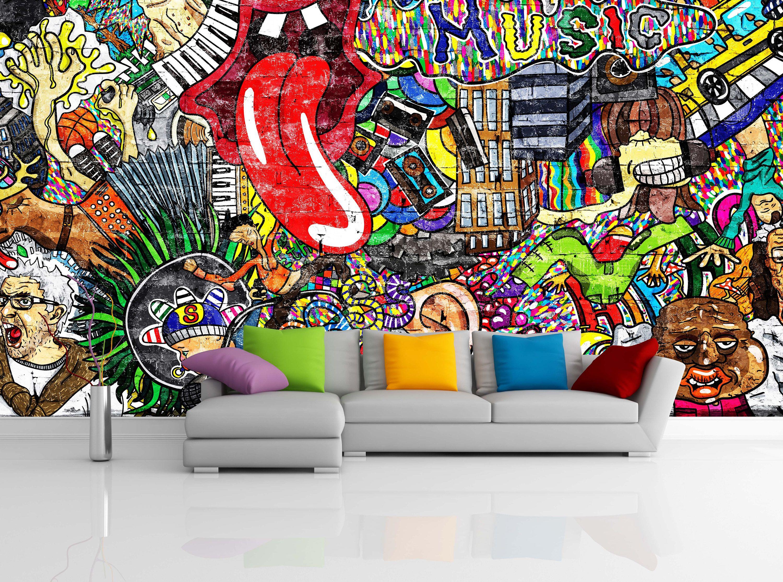 Removable Wallpaper Mural Peel Stick Self Adhesive Wallpaper Etsy In 2021 Mural Wallpaper Music Collage Mural