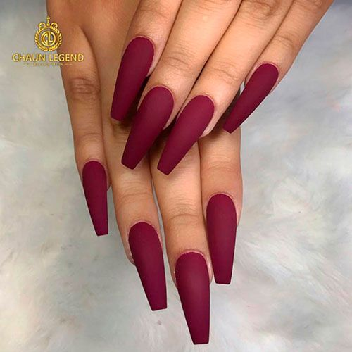 Amazing Matte Burgundy Long Coffin Nails Coffinnails