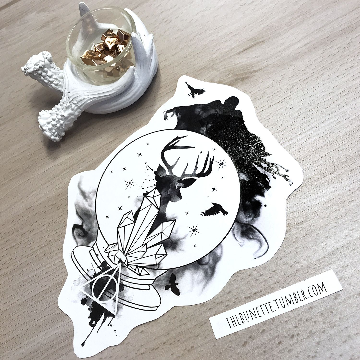 harry potter dementor deer deathly hallows tattoo illustration design inspiration drawing watercolor