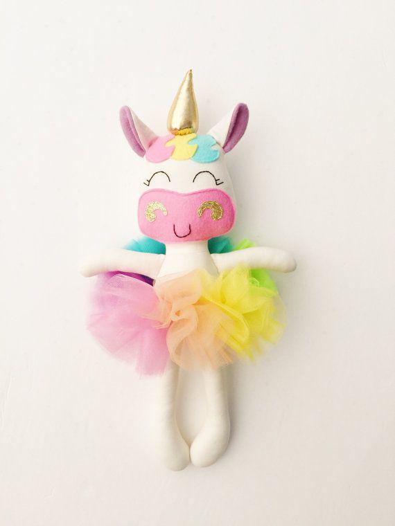 Unicornio la muñeca tela bebé regalo unicornio arco iris