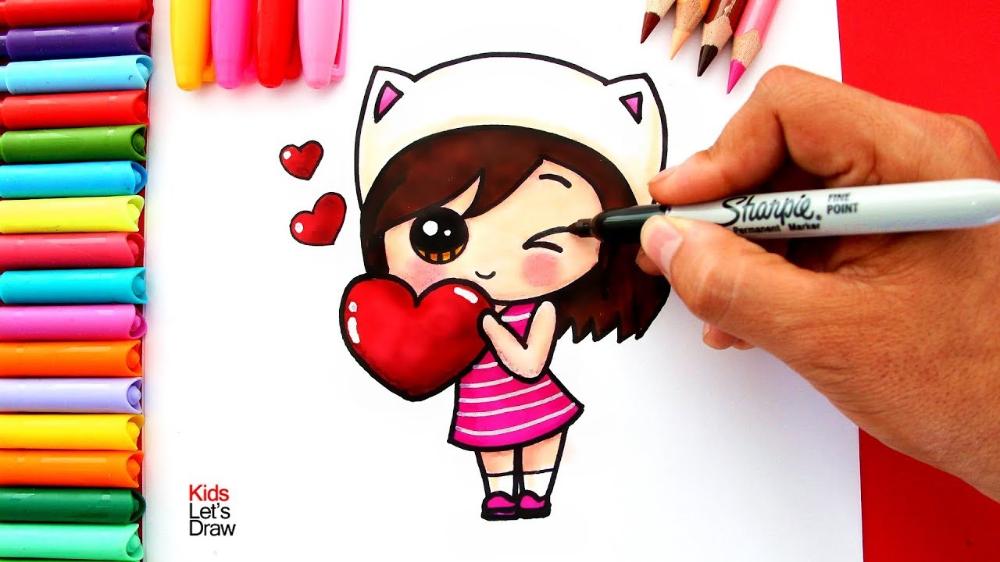 Como Dibujar Una Nina Kawaii Con Un Corazon How To Draw A Cute Girl With A Heart Youtube Como Dibujar Ninos Ninas Kawaii Kawaii