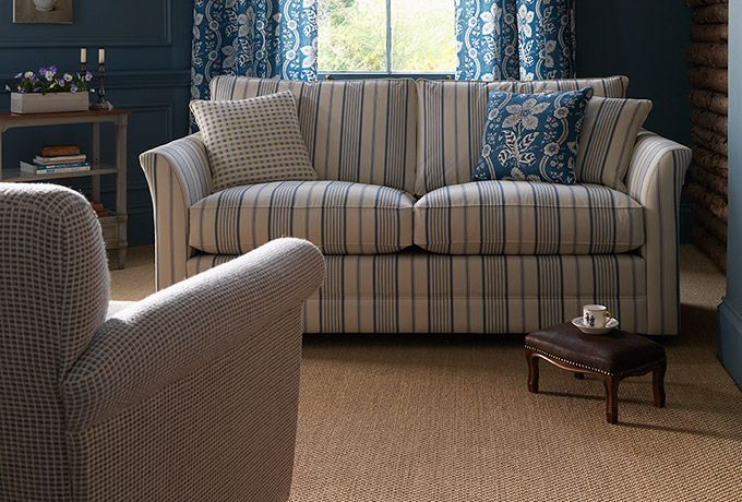 Enstone Sofa In Ian Sanderson Nilson Stripe French Blue