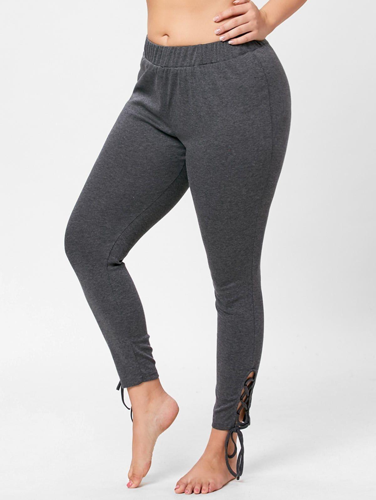 Plus Size Elastic Waist Lace Up Pants - GRAY 4XL | tina | Pants ...