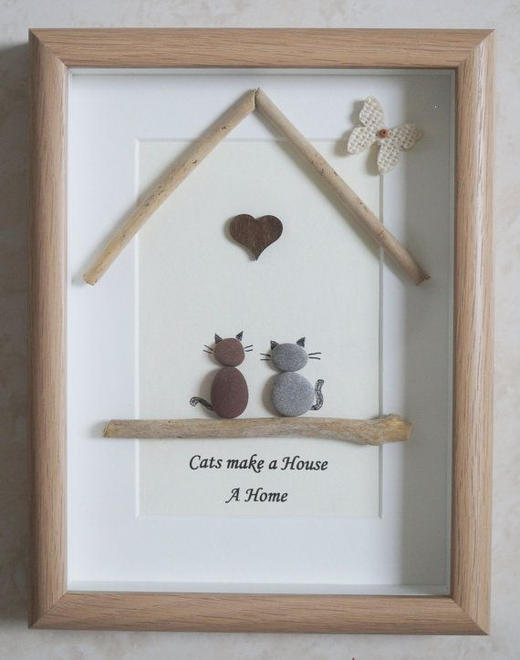 This Is A Beautiful Small Pebble Art Framed Picture Cats Make A House A Home Handmade By Myself Using Pebbles Driftwood W Pebble Art Rock Crafts Framed Art