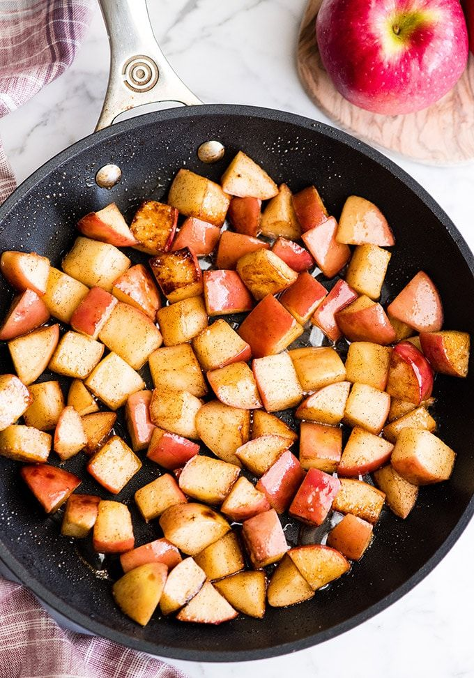 These Stovetop Sautéed Cinnamon Apples taste like a warm apple pie, but they come together in 5 minutes and are SO much healthier! This recipe is gluten-free, dairy-free, refined sugar free, vegan AND paleo! Perfect for breakfast, a snack, or dessert!