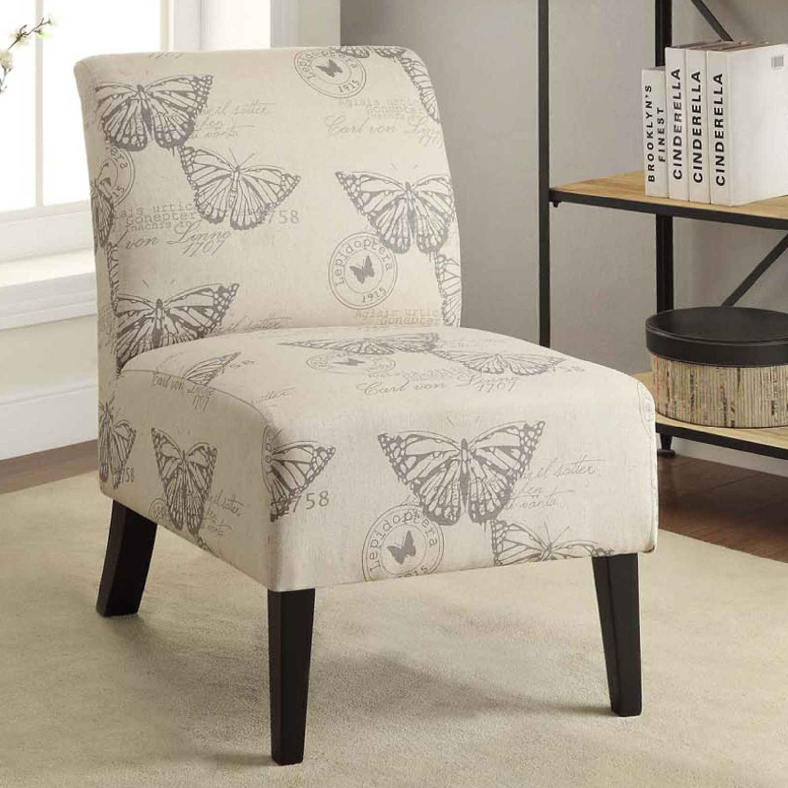 Linon Butterfly Lily Slipper Chair Linen Accent Chairs