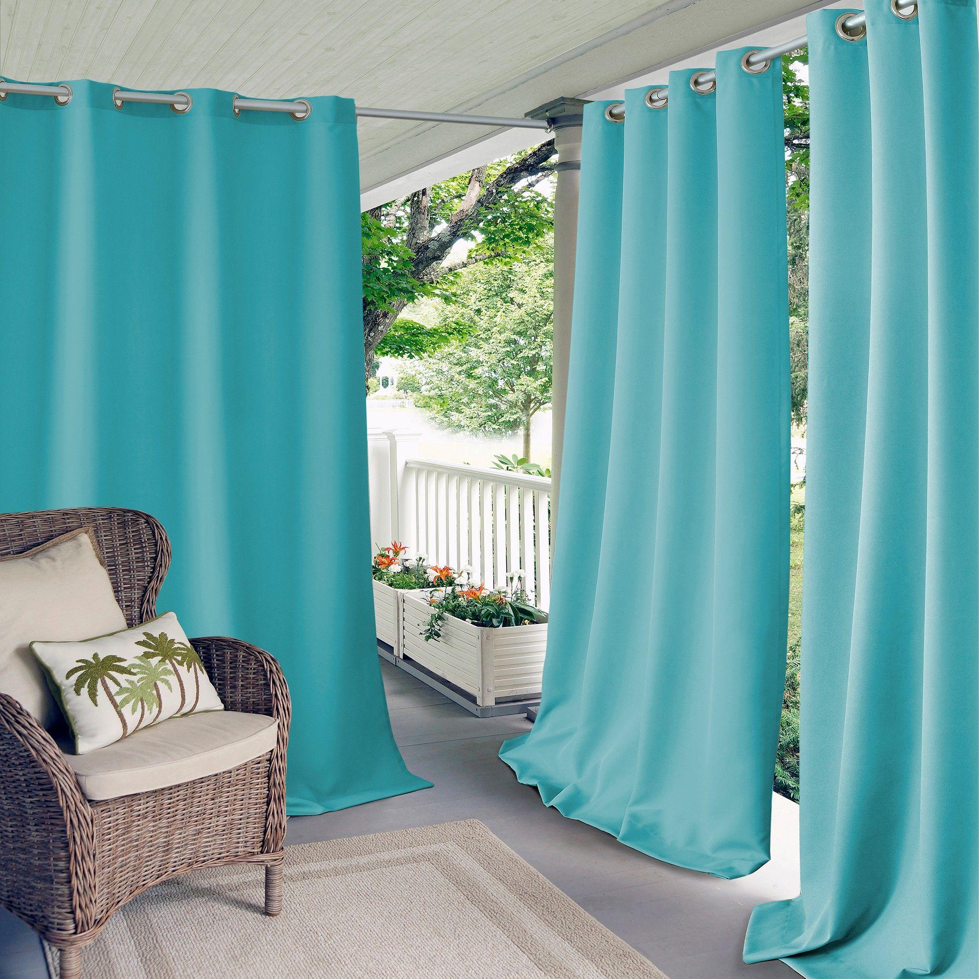 Connor Solid Indoor Outdoor Window Curtain Panel 52 X 108 Turquoise Blue Elrene Home Indoor Outdoor Curtains Outdoor Curtains Outdoor Grommet Curtains