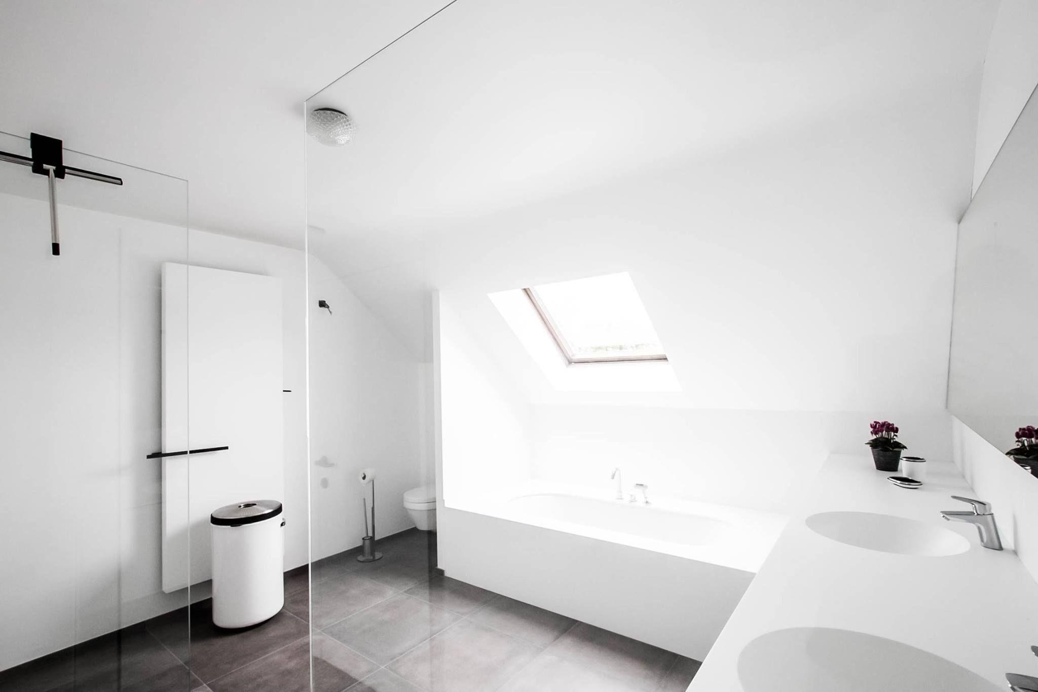 Badkamerinspiratie, inloopdouche in moderne badkamer. Dubbele wasbak ...