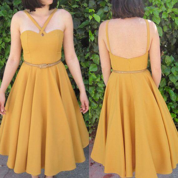 1950s dress / 50s dress/ pinup dress / full skirt / midi dress / retro dress / circle skirt