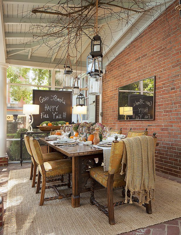 Thanksgiving Decorating Ideas | Fall Sunroom Dining Room Table Decor