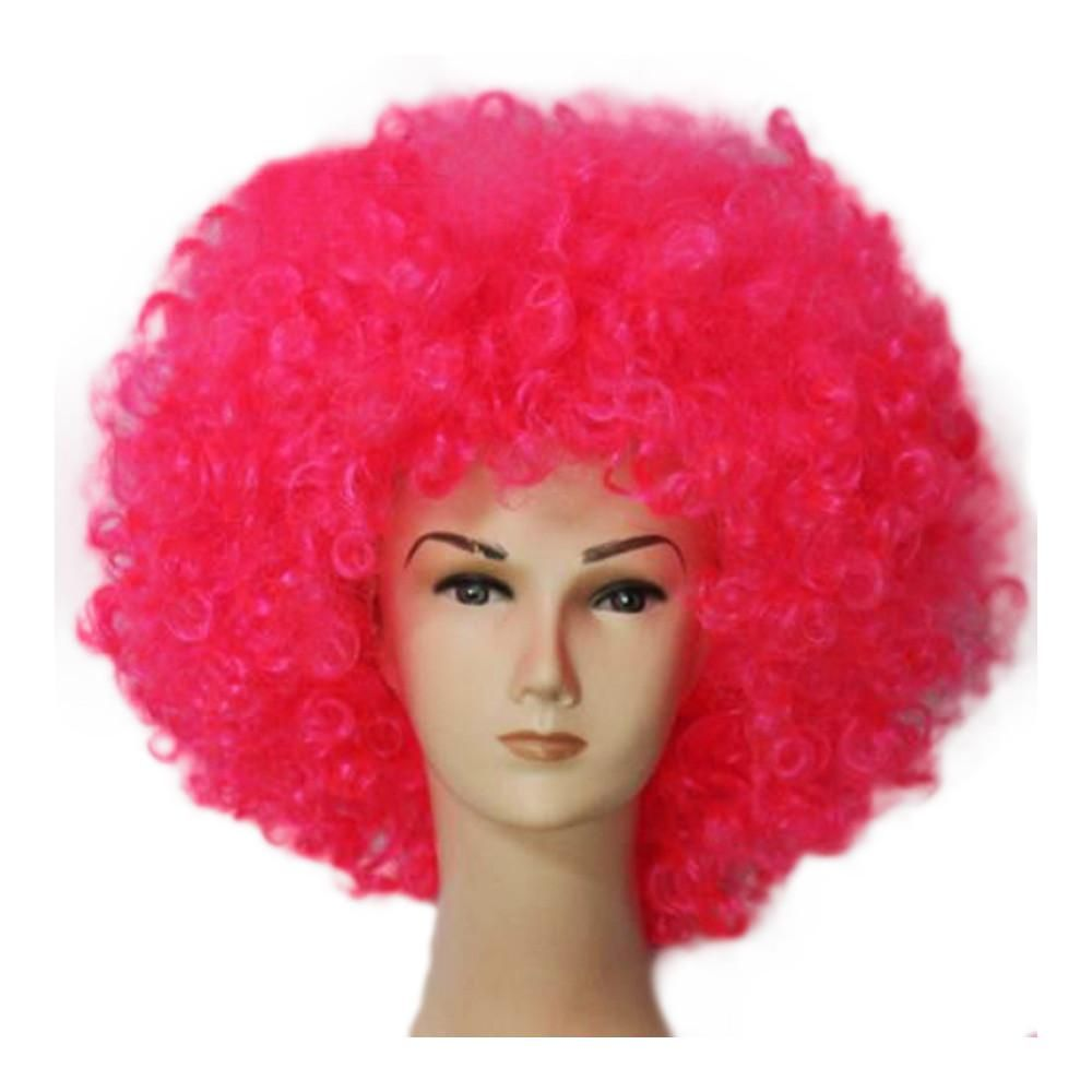 70s disco Fashion Afro Cosplay Curly Clown Party 70s Disco Cosplay Wig Cheering Squad Clown Pink