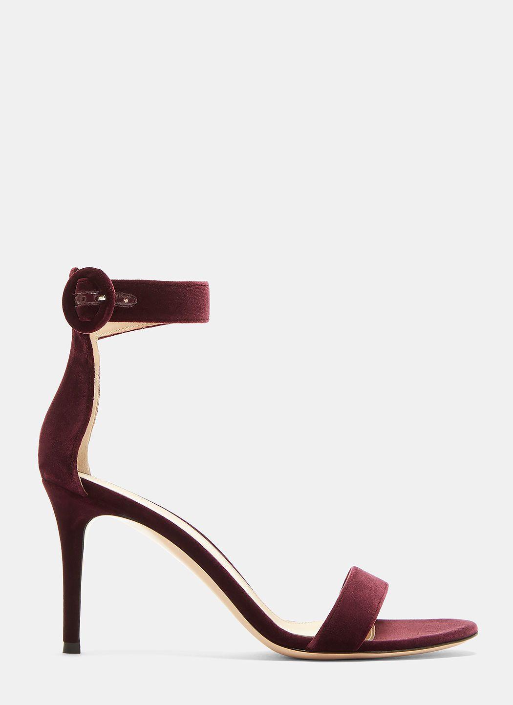 Gianvito Rossi Portofino 85 Velvet Heeled Sandals In Purple Modesens Velvet Heels Sandals Heels Heels