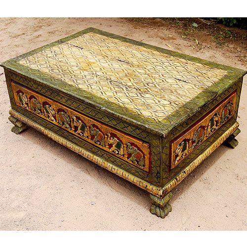 Used Solid Wood Coffee Table: Gorgeous Hand Painted Mango Hardwood Storage Trunk That